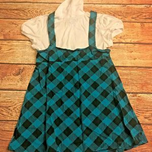 One Step Up Girl's Layered Plaid Dress L